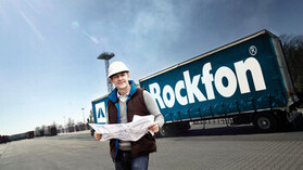 truck, lorry, logistics, transport, rockfon, man in front of truck